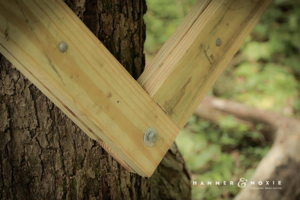 Treehouse knee brace, secured to the tree with a single lag bolt.